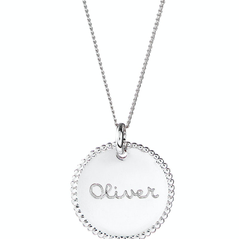 Beaded Coin Ketting Zilver