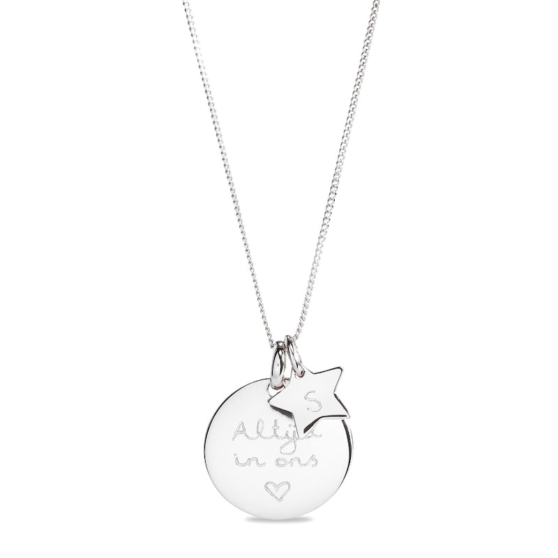 Coin necklace sterretje Zilver