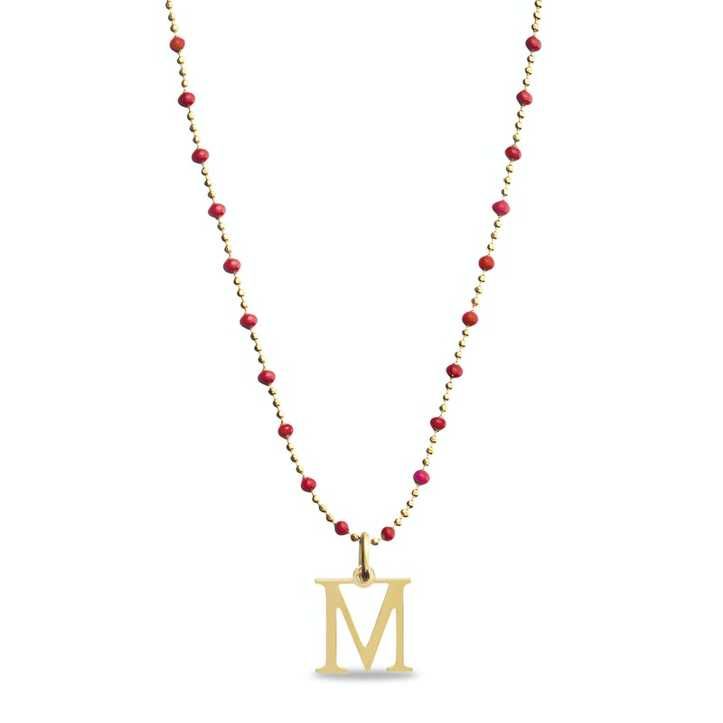 Enamel initial necklace colors red