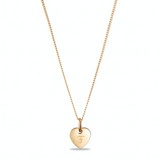 Heart charm necklace small F goud