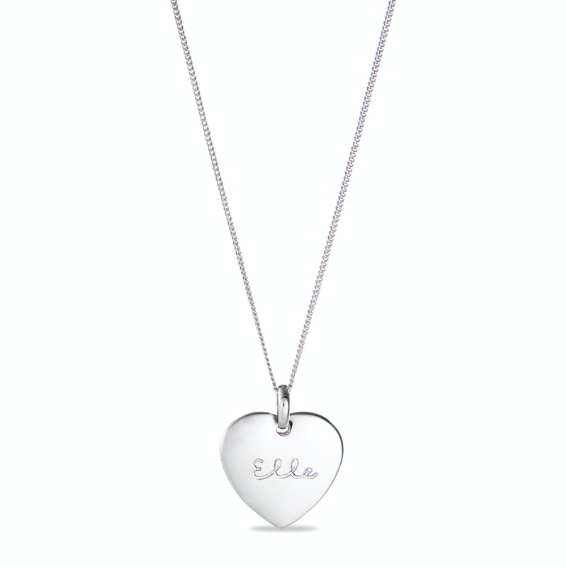 Heart Charm Necklace Zilver