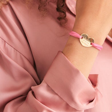 heart armband satin stretch gold plated gravure