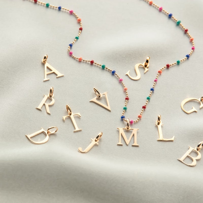 Initial necklace with letters