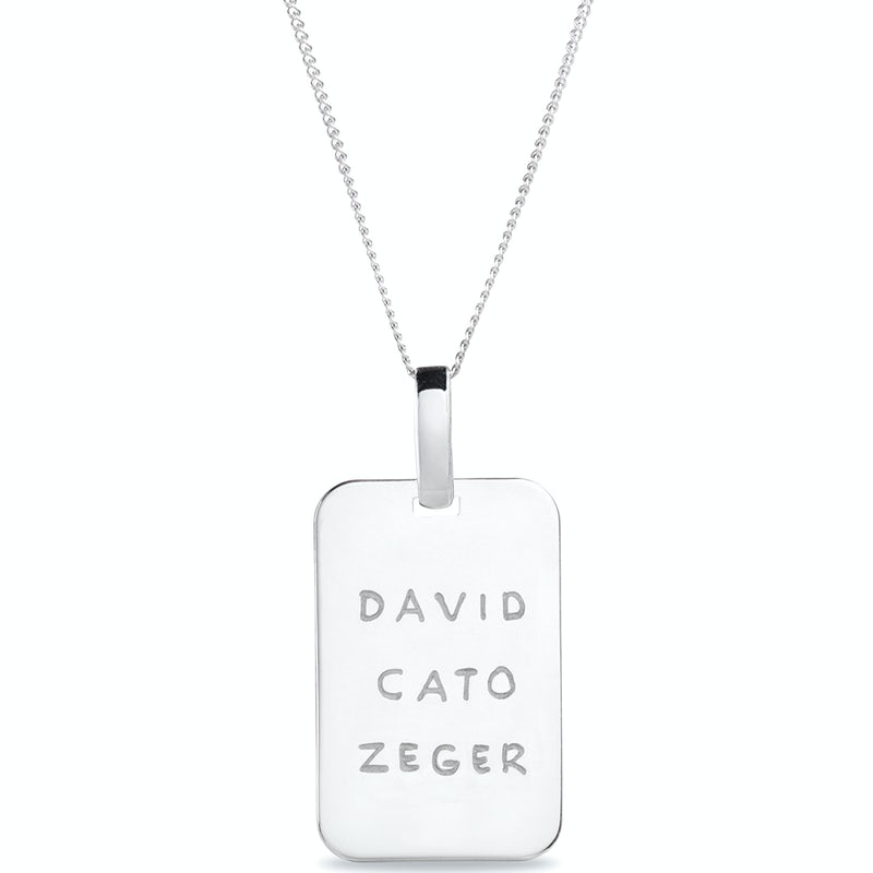 Mannen Tag Ketting Zilver