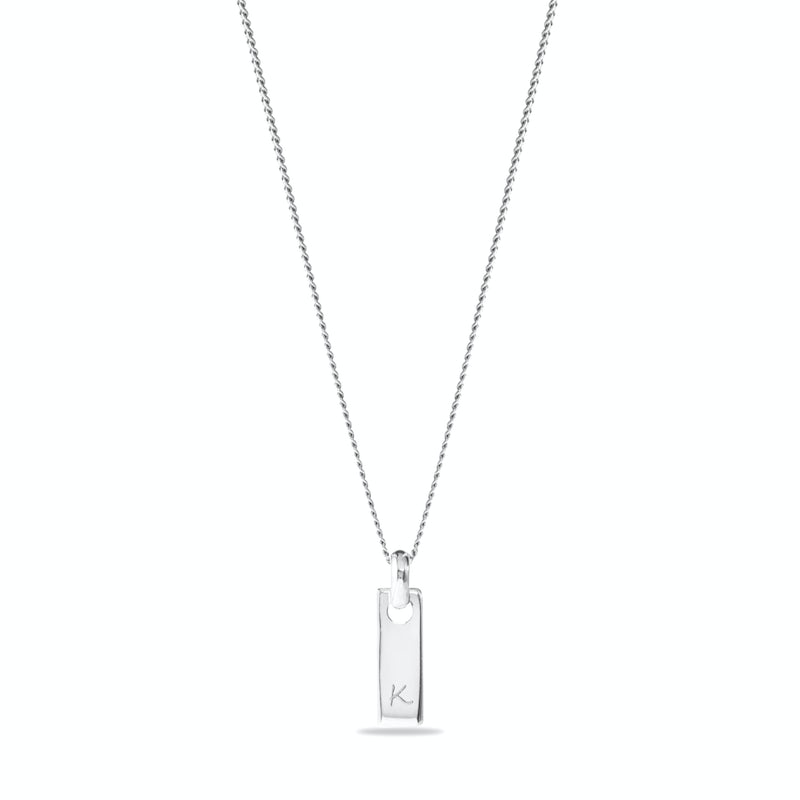 Tiny tag necklace Gravure Zilver