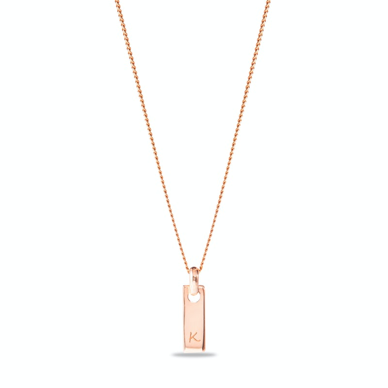 Tiny tag necklace Gravure Rose
