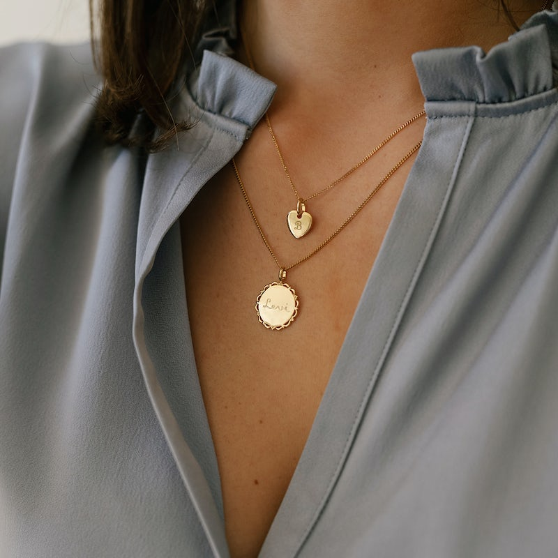 Vintage Coin necklace mini heart