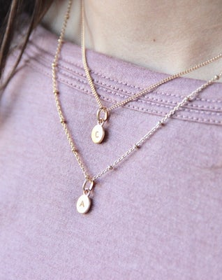 Tiny Initial Charm Necklace
